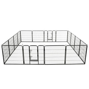 Dog Playpen 16 Panels Steel 80x80 cm Black