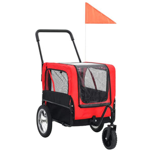 2-in-1 Pet Bike Trailer & Jogging Stroller Red and Black