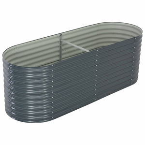 Garden Raised Bed 240x80x81 cm Galvanised Steel Grey