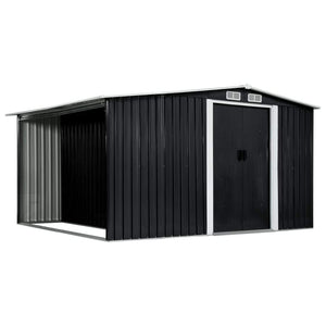 Garden Shed with Sliding Doors Anthracite 329.5x259x178 cm Steel
