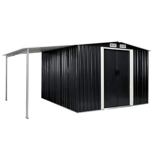 Garden Shed with Sliding Doors Anthracite 386x259x178 cm Steel