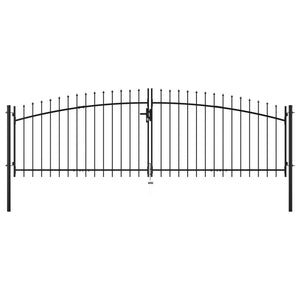 Double Door Fence Gate with Spear Top 400x150 cm