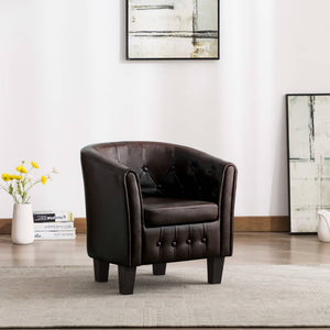 Tub Chair Brown Faux Leather sku 248041
