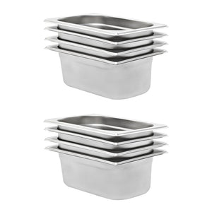 Gastronorm Containers 8 pcs GN 1/4 100 mm Stainless Steel