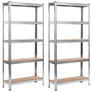 Storage Shelves 2 pcs Silver 90x30x180 cm Steel and MDF
