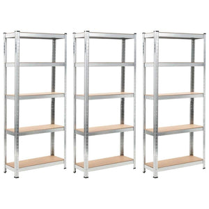 Storage Shelves 3 pcs Silver 75x30x172 cm Steel and MDF