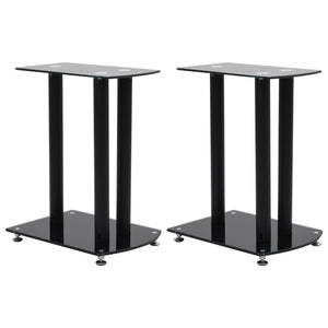 Aluminum Speaker Stands 2 pcs Black Safety Glass