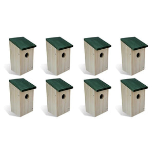 Bird Houses 8 pcs Wood 12x12x22 cm