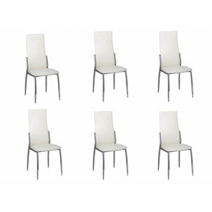 Dining Chairs 6 pcs White Faux Leather sku-160258