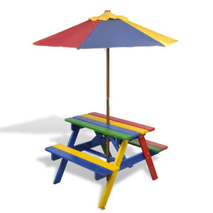 Kids' Picnic Table with Benches and Parasol Multicolour Wood