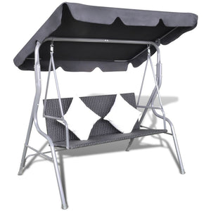 Outdoor Hanging Rattan Swing Bench with a Canopy Black