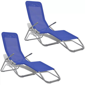 Sun Loungers 2 pcs Steel Frame and Textilene Blue