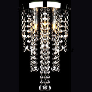 White Metal Ceiling Lamp with Crystal Beads
