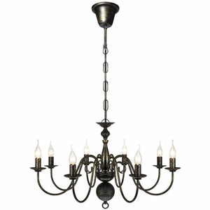 Antique Black Metal Chandelier 8 x E14 Bulbs