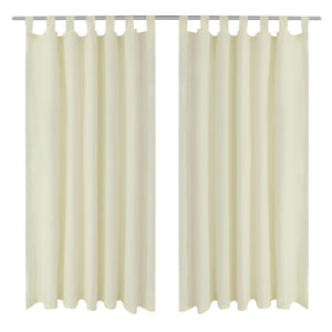 2 pcs Cream Micro-Satin Curtains with Loops 140 x 175 cm