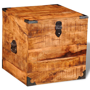 Storage Chest Cubic Rough Mango Wood