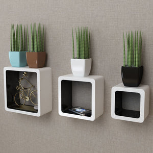 3 White-black MDF Floating Wall Display Shelf Cubes Book/DVD Storage sku-242169