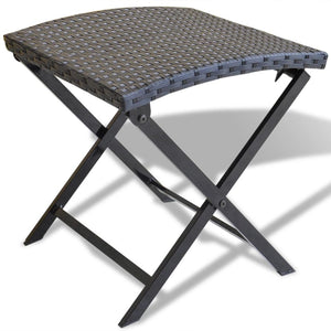 Folding Stool Poly Rattan Black