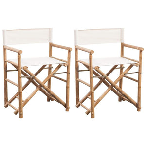Folding Director's Chair 2 pcs Bamboo and Canvas