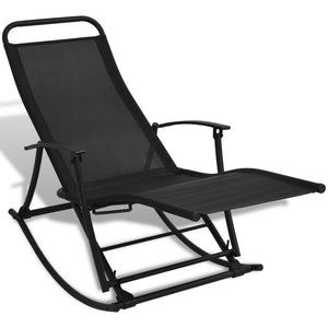 Garden Rocking Chair Steel and Textilene Black