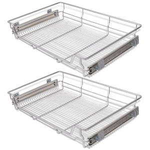 Pull-Out Wire Baskets 2 pcs Silver 800 mm