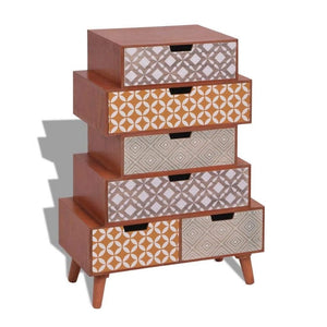 Side Cabinet 6 Drawers Brown
