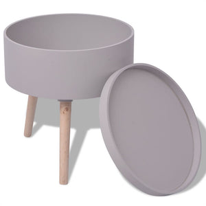 Side Table with Serving Tray Round 39.5x44.5 cm Grey