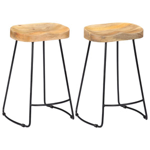 Gavin Bar Stools 2 pcs Solid Mango Wood - sku 247837