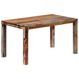 Dining Table Grey 140x70x76 cm Solid Sheesham Wood