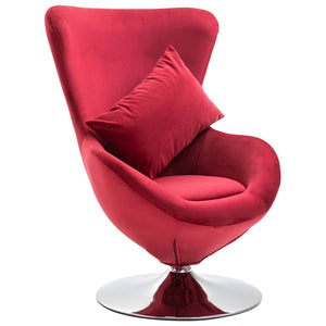 Swivel Egg Chair with Cushion Red Velvet