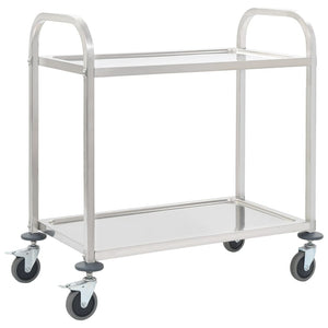 2-Tier Kitchen Trolley 107x55x90 cm Stainless Steel