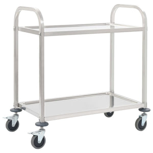 2-Tier Kitchen Trolley 87x45x83.5 cm Stainless Steel