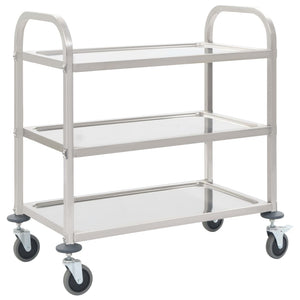 3-Tier Kitchen Trolley 107x55x90 cm Stainless Steel