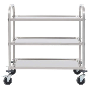3-Tier Kitchen Trolley 87x45x83.5 cm Stainless Steel