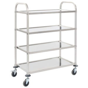 4-Tier Kitchen Trolley 107x55x125 cm Stainless Steel