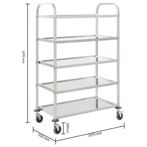 5-Tier Kitchen Trolley 107x55x147 cm Stainless Steel