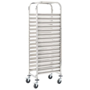 Kitchen Trolley for 16 Trays 65.5x48.5x165 cm Stainless Steel