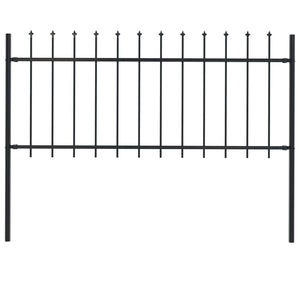 Garden Fence with Spear Top Steel 1.7 m Black - sku 144924