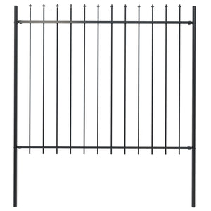 Garden Fence with Spear Top Steel 1.7x1.5 m Black