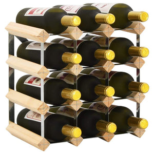 Wine Rack for 12 Bottles Solid Pinewood