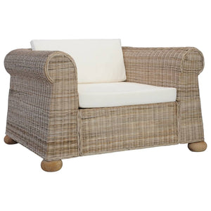 Armchair with Cushions Natural Rattan