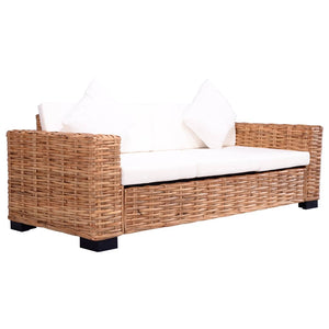 3-Seater Garden Sofa Natural Rattan