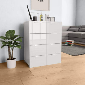 Sideboard High Gloss White 60x35x76 cm Chipboard