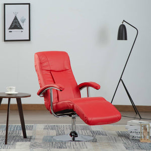 TV Armchair Red Faux Leather