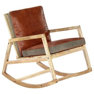 Rocking Chair Brown Real Leather and Solid Mango Wood
