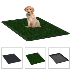 Pet Toilets 2 Pieces with Tray and Artificial Turf Green 76x51x3 cm WC