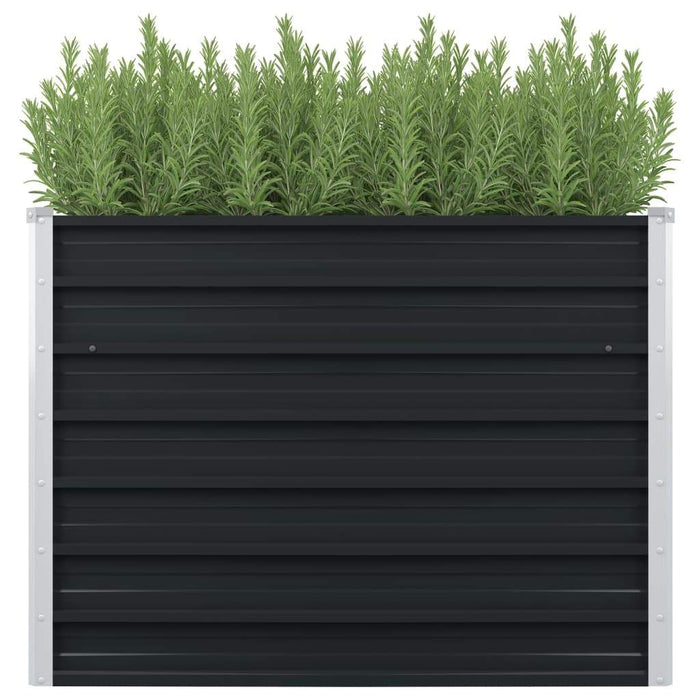 Raised Garden Bed Anthracite 100x100x77 cm Galvanised Steel