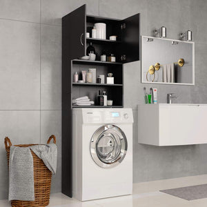 Washing Machine Cabinet Black 64x25.5x190 cm Chipboard