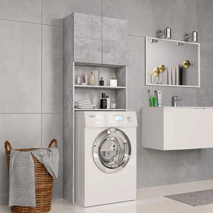 Washing Machine Cabinet Concrete Grey 64x25.5x190 cm Chipboard