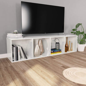 Book Cabinet/TV Cabinet High Gloss White 36x30x143 cm Chipboard